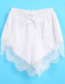 White Elastic Waist Contrast Lace Shorts