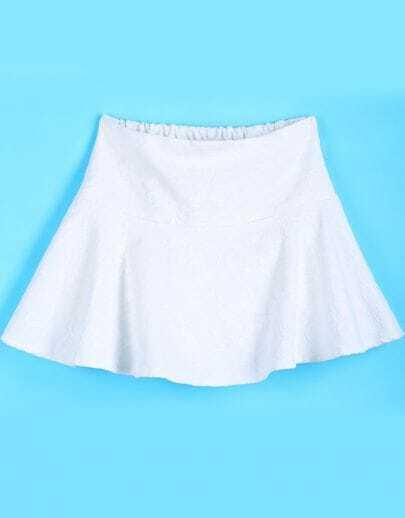 White Elastic Waist Ruffle Lace Skirt