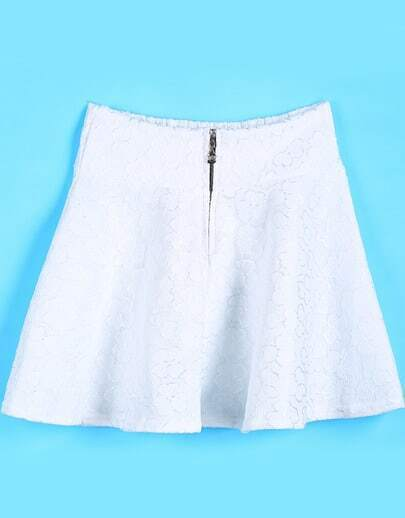 White Zipper Ruffle Lace Skirt
