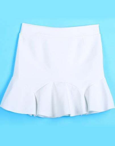 White Simple Design Ruffle Skirt