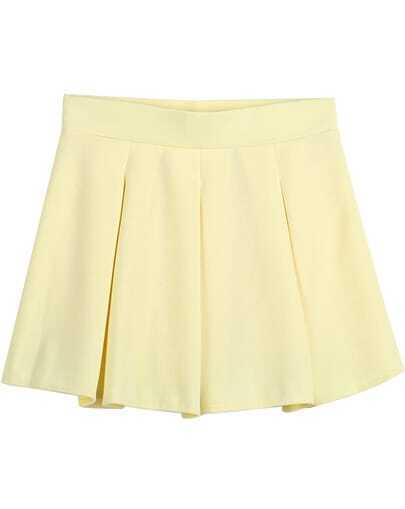 Yellow Simple Design Ruffle Skirt