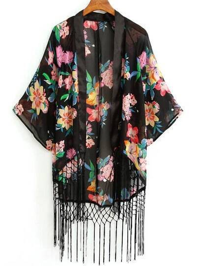 Black Batwing Sleeve Floral Tassel Chiffon Blouse