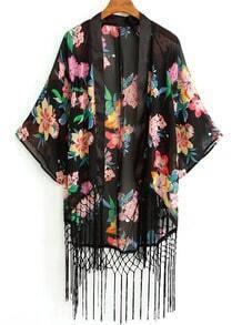 Black Batwing Sleeve Floral Tassel Chiffon Blouse
