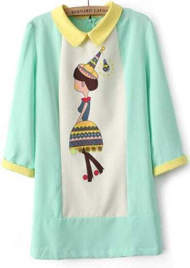 Green Long Sleeve Witch Print Straight Dress