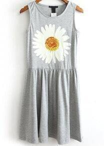 Grey Sleeveless Chrysanthemum Print Pleated Dress
