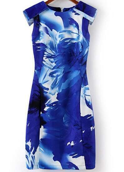 Blue Semiformal Sleeveless Floral Bodycon Dress