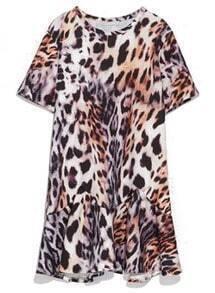 Brown Short Sleeve Leopard Ruffle Dress