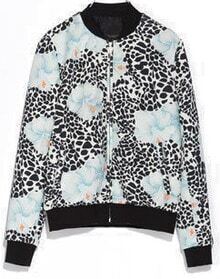 Black Blue Leopard Stand Collar Vintage Jacket