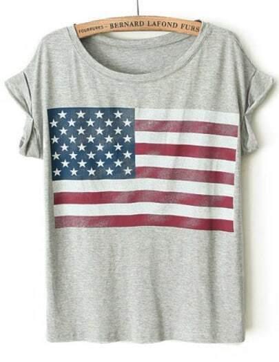 Grey Short Sleeve Striped Stars Print T-Shirt