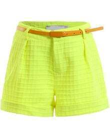 Green Fashion Plaid Pattern Shorts