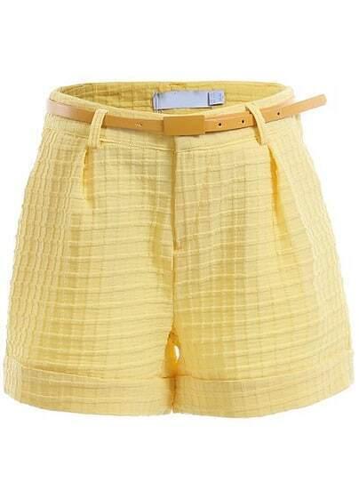 Yellow Fashion Plaid Pattern Shorts