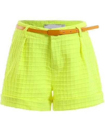Green Fashion Plaid Pattern Shorts