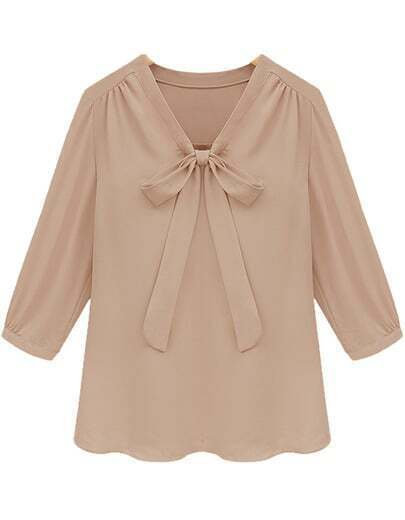 Khaki V Neck Half Sleeve Bow Chiffon Blouse