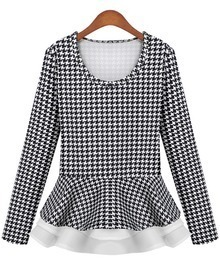 White Long Sleeve Houndstooth Ruffle Blouse