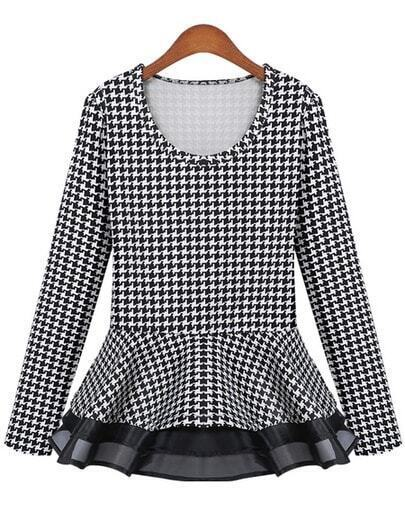 Black Long Sleeve Houndstooth Ruffle Blouse