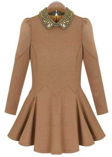 Khaki Long Sleeve Bead Lapel Pleated Dress