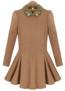 Khaki Long Sleeve Bead Lapel Pleated Dress