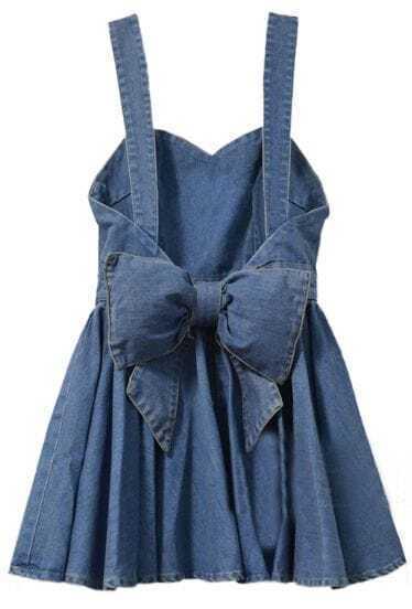 Blue Sleeveless Backless Bow Pleated Dress