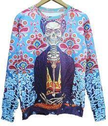 Blue Long Sleeve Florida Floral Print Sweatshirt