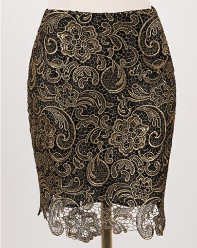 Gold Hollow Lace Bodycon Skirt