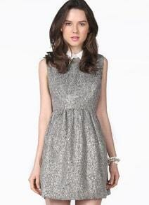 Grey Sleeveless Sequined A Line Sundress