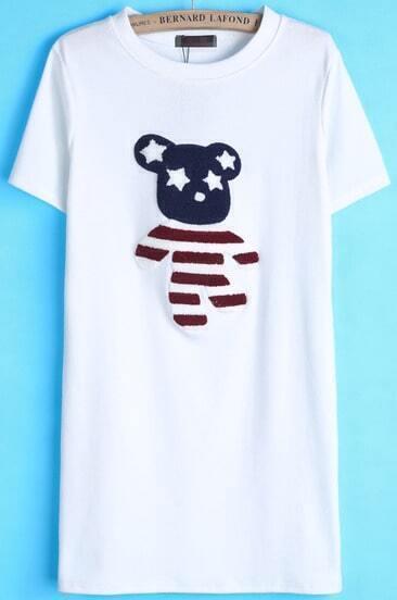 Camiseta larga oso manga corta-blanco