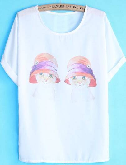 White Short Sleeve Bead Cat Print T-Shirt