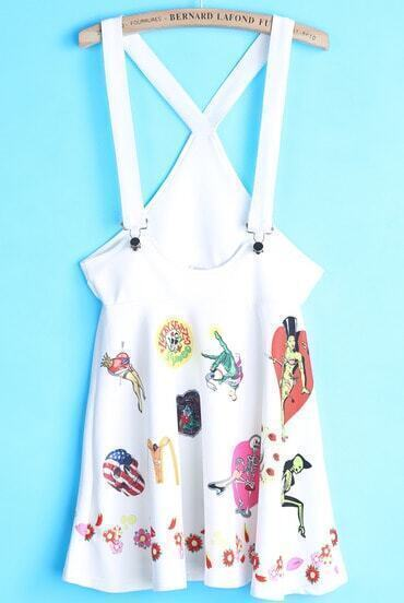 White Strap Skull Print Pinafore Dress