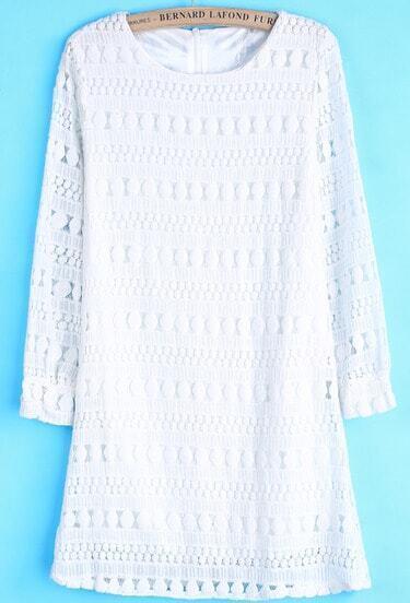 White Long Sleeve Polka Dot Lace Dress