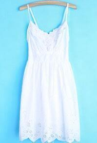 White Spaghetti Strap Embroidered Hollow Dress