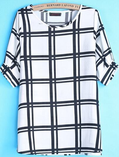 White Black Plaid Puff Sleeve Chiffon Blouse
