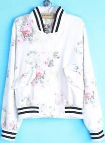 White Stand Collar Floral Lace Loose Jacket
