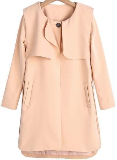 Khaki Long Sleeve Pockets Dipped Hem Coat