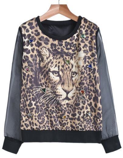 Black Contrast Gauze Leopard Print Rhinestone Sweatshirt