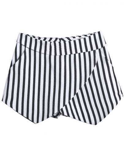 White Black Vertical Stripe Zipper Shorts