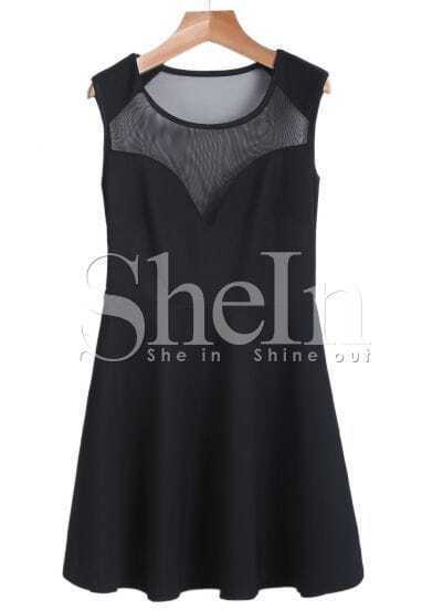 Black Contrast Gauze Sleeveless A Line Dress