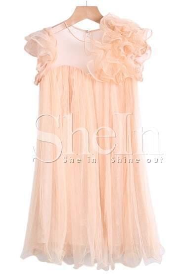 Orange Contrast Gauze Flower Embellished Dress