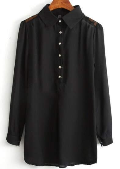 Black Lapel Contrast Lace Long Sleeve Blouse