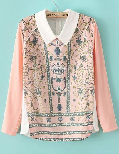 Pink Long Sleeve Rhinestone Floral Blouse