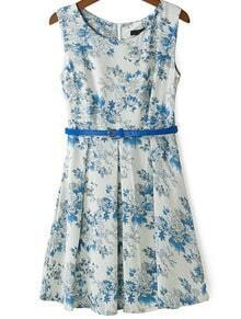 Blue Sleeveless Belt Floral Pleated Dress