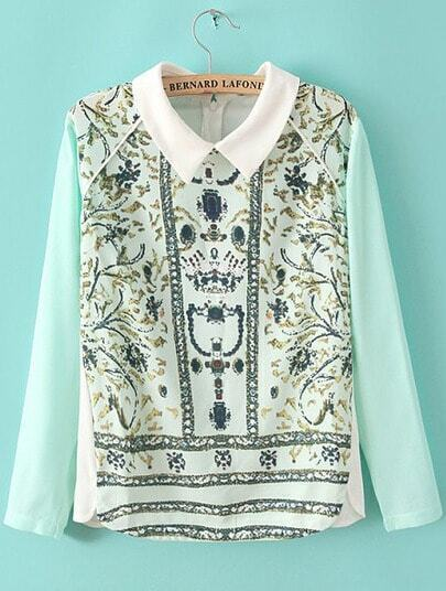 Green Long Sleeve Rhinestone Floral Blouse