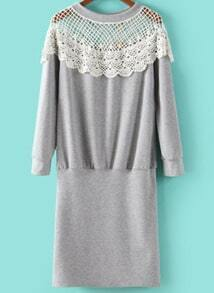 Grey Contrast Lace Long Sleeve Bodycon Dress