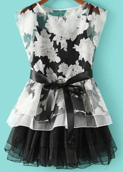 Black Sleeveless Belt Floral Organza Dress