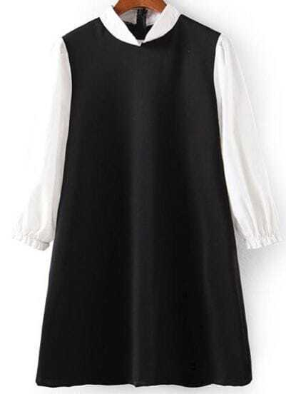 Black Stand Collar Contrast Long Sleeve Loose Dress