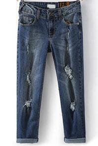 Navy Ripped Bleached Pleated Denim Pant