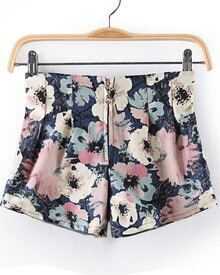 Blue Zipper Floral Straight Shorts