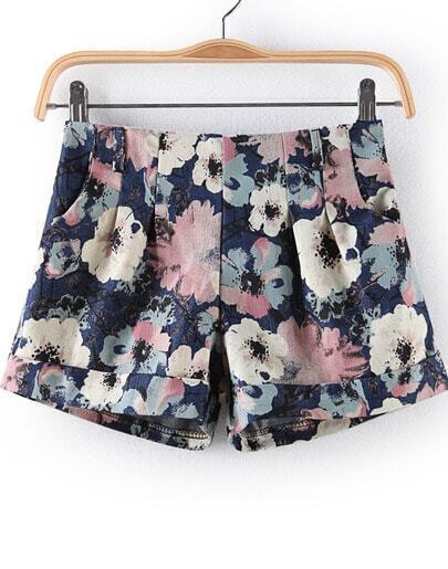 Blue Zipper Floral Flange Straight Shorts