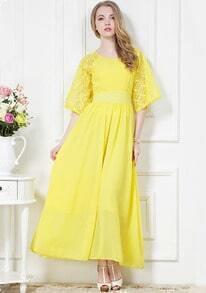 Yellow Lace Half Sleeve Pleated Chiffon Dress