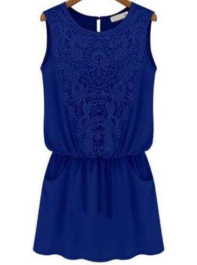 Blue Sleeveless Lace Slim Chiffon Dress