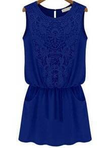 Blue Sleeveless Lace Slim Chiffon Dress